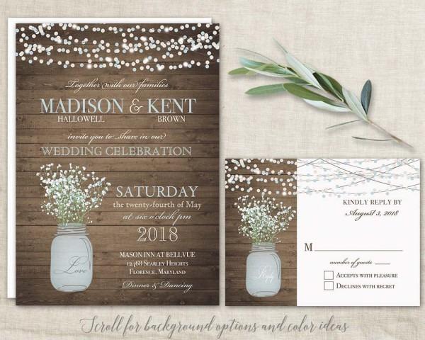 Mason Jar Wedding Invitations Suite Rustic Country
