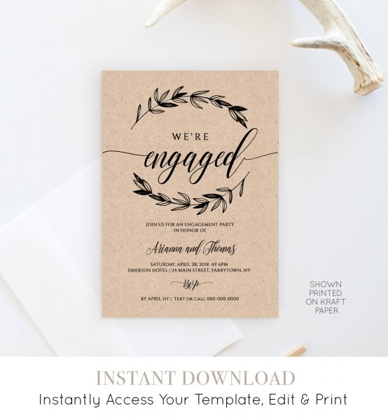 Printable Engagement Party Invitation Template, Rustic Wedding