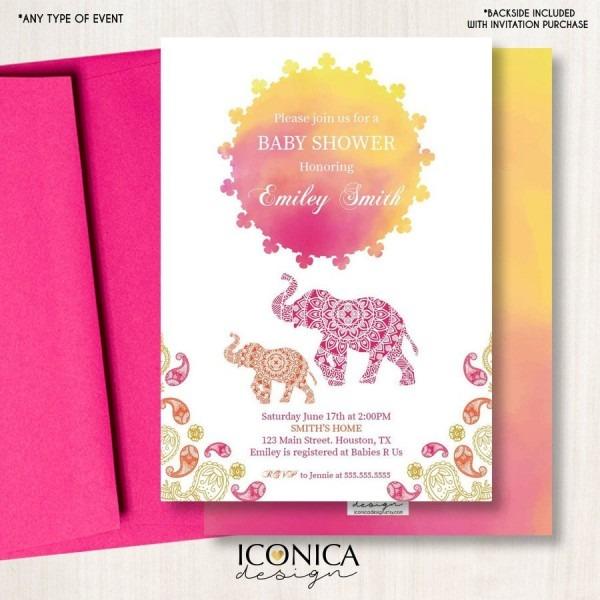 Moroccan Baby Shower Invitation, Moroccan Decor  Elephant