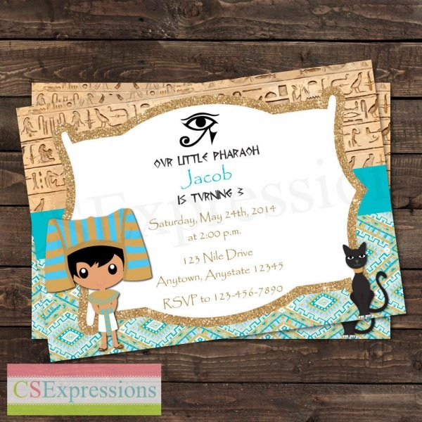 Pharaoh Egyptian Birthday Party Invitation