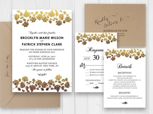Gold Rose Wedding Invitations, Elegant Wedding Invitation Rsvp