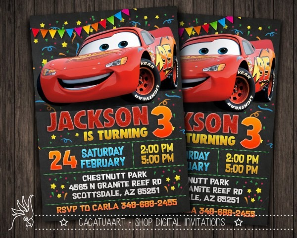 Personalized Invitation Cars Movie Cars Movie Lightning