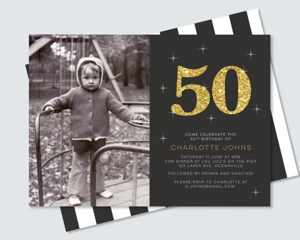 Black And Gold 50th Birthday Invitation With Photo And Back Design