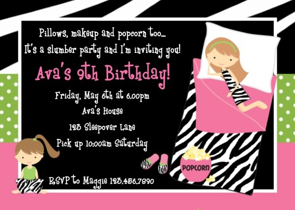 Printable Birthday Invitations, Girls Sleepover Party,
