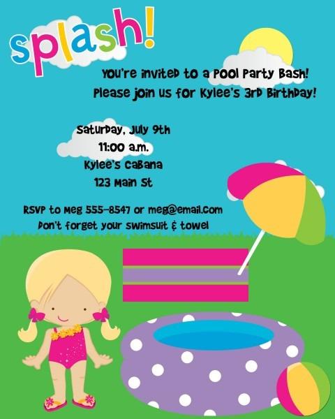 Girls First Birthday Pool Party Invitations — Free Invitation