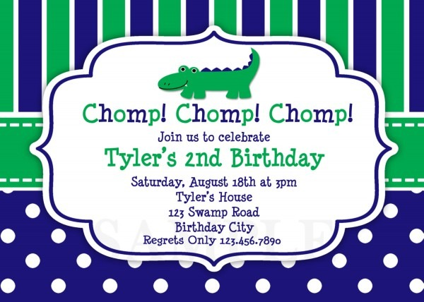 Printable Birthday Invitations,boys Alligator Party,