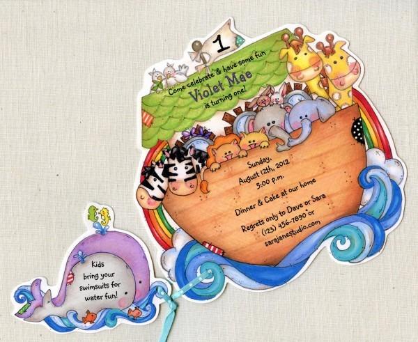 25 Noah's Ark Birthday Party Invitations Animal