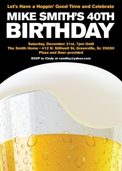 Beer Party Invitations, Birthday, 21st, 30th, 40th, Milestone, Set