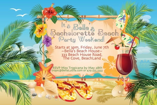 Beach Party Invitation Luau Party Summer Weekend