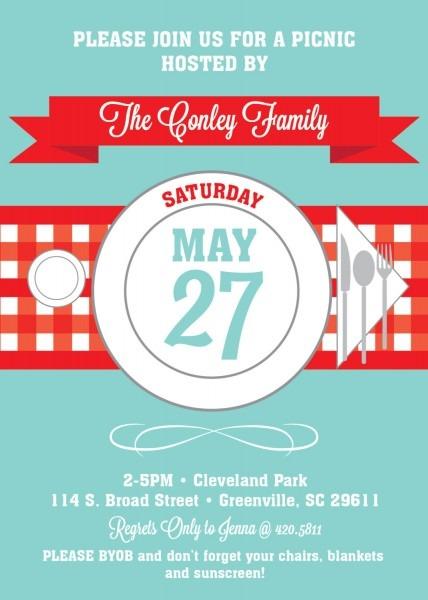 Picnic Invitations, Summer, Bbq, Barbecue, July 4th, Checkered