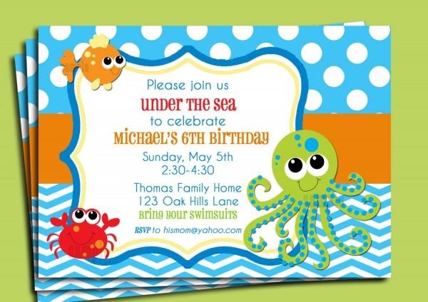 Under The Sea Invitations