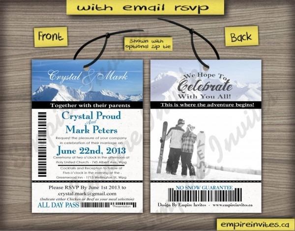 Lift Ticket Invitation Custom Ski Pass Invite 4x5 &