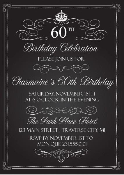 Crown Vintage Birthday Invitations
