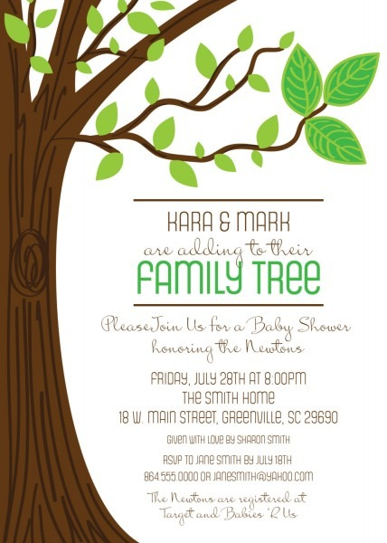 Family Tree Baby Shower Invitations, Three Leaves, Rustic, Boy Or