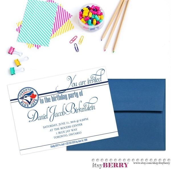 Blue Jays Birthday Invitation Baseball Birthday Card Toronto