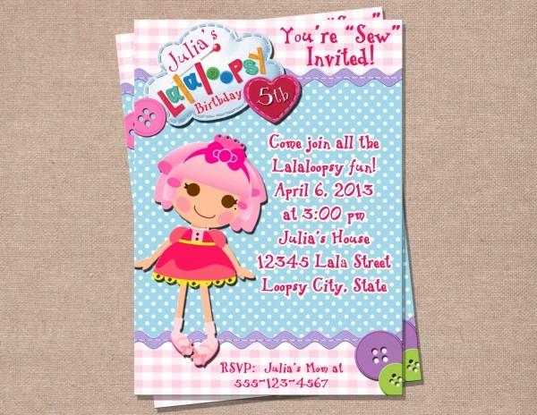 Lalaloopsy Birthday Invitation Lalaloopsy Birthday