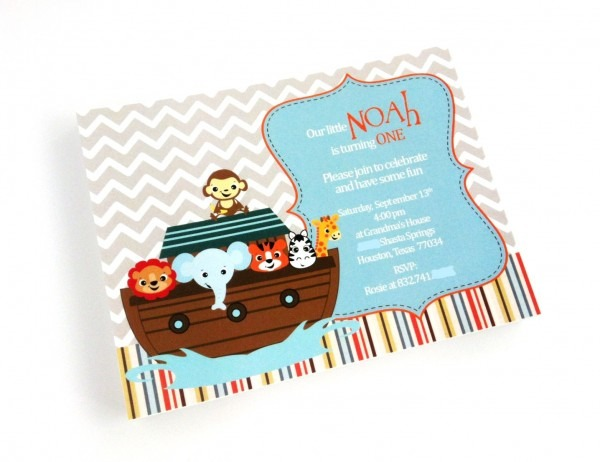 Noah's Ark Invitations For Baby Shower And Birthday
