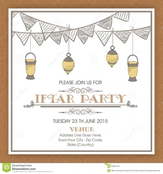 Ramadan Kareem Iftar Party Celebration Invitation Card Design