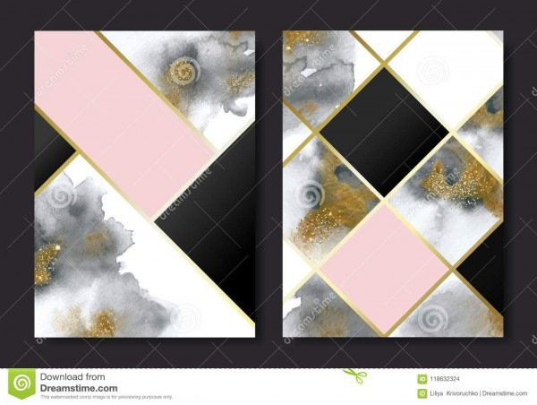Invitation Cards With Gold And Grey Marble Watercolor Texture And