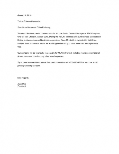 Invitation Letter Sample Visa Application