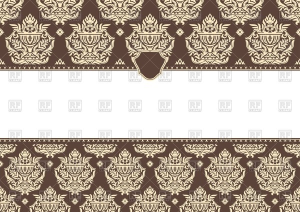 Invitation Template With Damask Ornament Vector Illustration Of