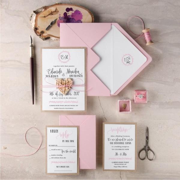 Invitations Blush Wedding Invitation Suite Rustic Set Pink Wooden
