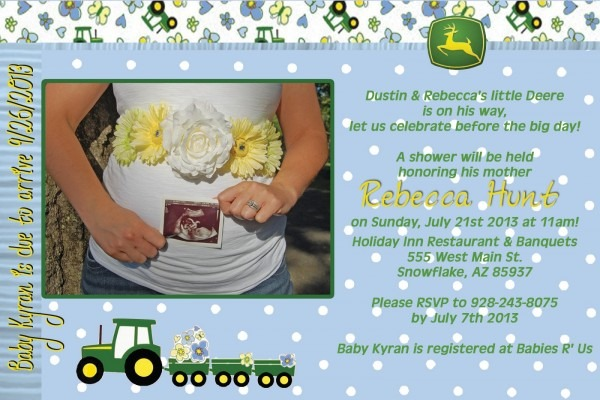 Hunt 4 Announcements And Invites  John Deere Baby Shower Announcement