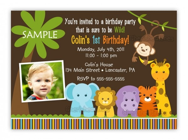 Jungle Themed Birthday Invitations Safari First Party Year