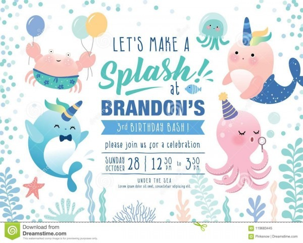 Kids Under The Sea Birthday Party Invitation Card Stock Vector