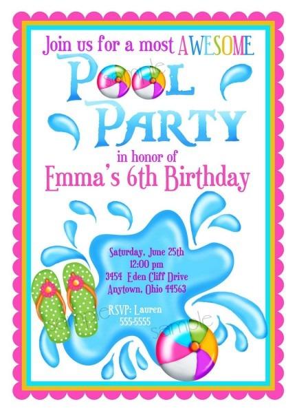 Kids Pool Party Invite