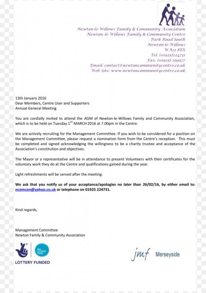 Wedding Invitation Annual General Meeting Cover Letter