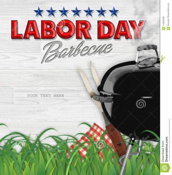 Labor Day Bbq Barbecue Invitation Stock Image
