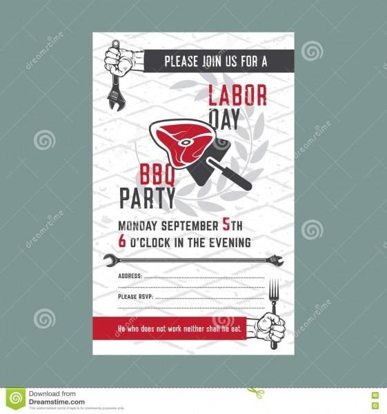 Labor Day Bbq Invitation Card Stock Vector