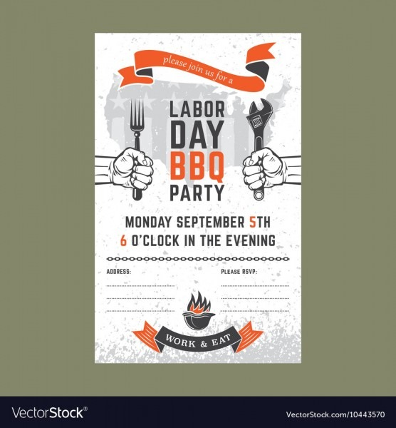 Labor Day Bbq Invitation Card Royalty Free Vector Image
