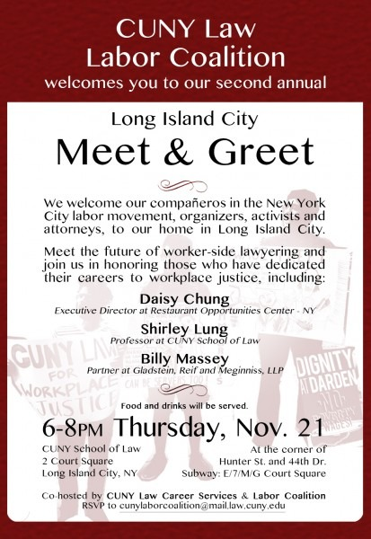Cuny Law Labor Coalition Invitation To 2nd Annual Meet & Greet