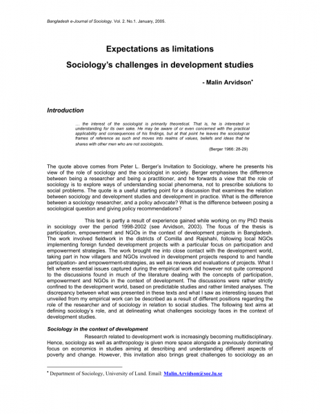 Pdf) Expectations As Limitations Sociology's Challenges In