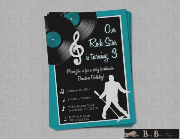 Latest Music Themed Birthday Invitations Rock Roll Party