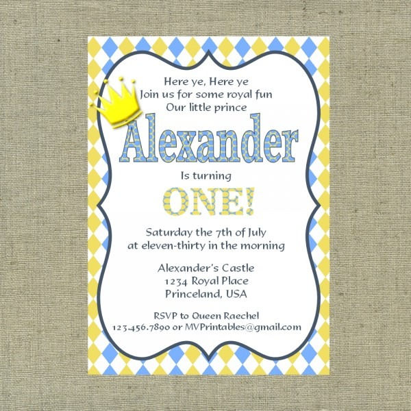 Little Prince Themed Blue And Yellow Custom Printable Invitation