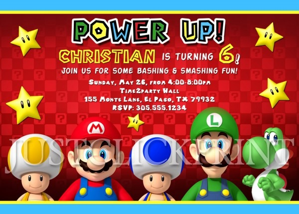 Mario Brothers Birthday Invitation Printable Uprint · Just Click