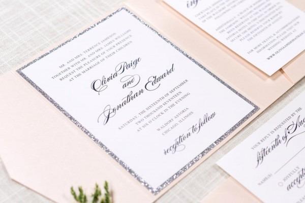 Silver Glitter And Blush Shimmer Pocket Wedding Invitation