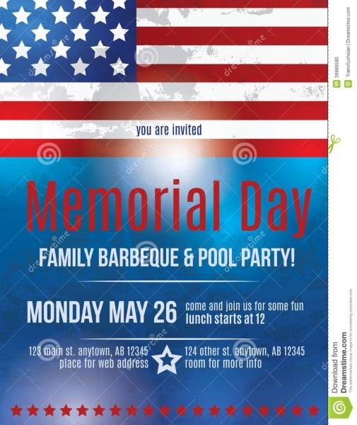 Memorial Day Flyer Template Stock Vector