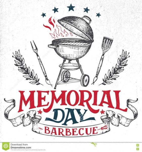 Memorial Day Greeting Card Barbecue Invitation Stock Vector