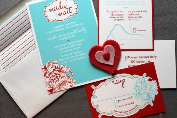 Turquoise And Red Wedding Invitations