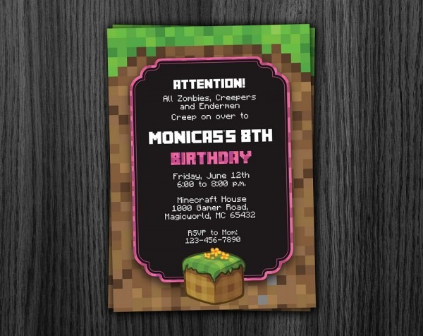 Phorest Studio » Minecraft Girl Invitation Printable, Minecraft