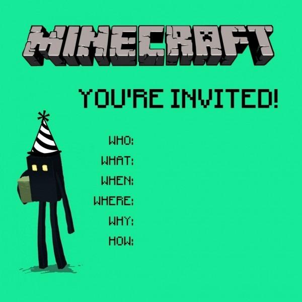 Ben Comics » Minecraft Party Invitation