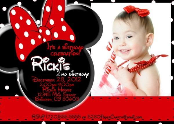 Disney Minnie Mouse Birthday Invite You Print Custom Wording On