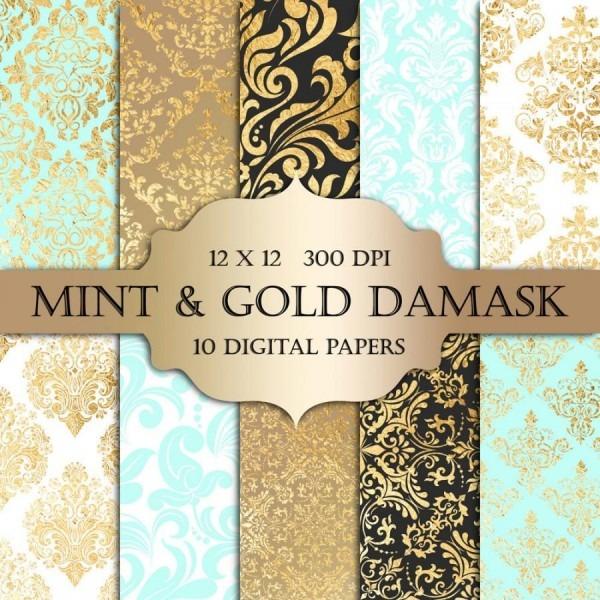 Mint & Gold Foil Damask Digital Paper