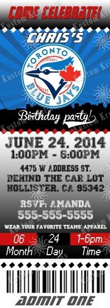 Mlb Toronto Blue Jays Birthday Invitations