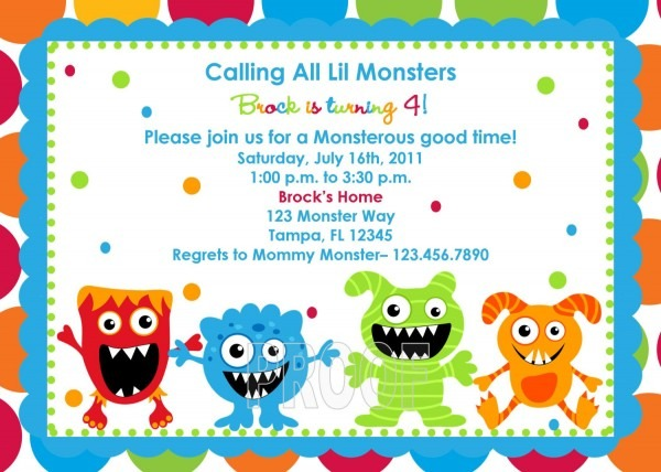 Monster Birthday Party Invitations Monster Birthday Party