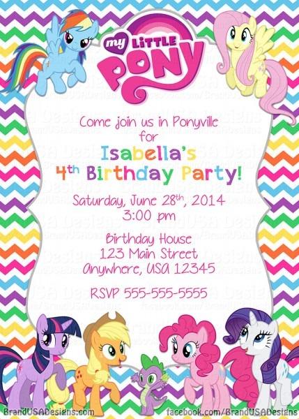 My Little Pony Birthday Invitations And Glamorous Birthday